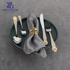 410SS 13/0 Middle East style golden Plating Stainless Steel Cutlery Set dinner Spoon