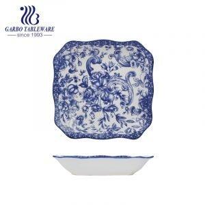 Wholesale custom under glazed design Chinese style 9.5inch square porcelain dinner plate
