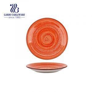 Handmade painted colorful ceramic tableware 7.5inch ceramic dessert dish wholesale
